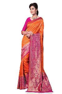 Meghdoot Orange And Pink Colour Kanchipuram Spun Silk Woven Saree