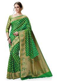 Golden Kanchipuram Spun Silk Woven Saree