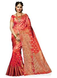 Peach Tussar Silk Traditional Saree