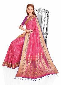Purple Woven Art Silk Traditional Saree