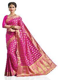 Woven Pink Art Silk Saree