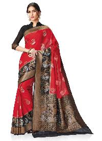 Red and Black Colour Kanchipuram Spun Silk Woven Saree