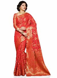 Red Art Tussar Silk Traditional Woven Saree