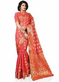 Red Colour Woven Art Tussar Silk Saree