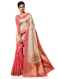 Beige and pink Traditional Kanchipuram Spun Silk Woven Saree