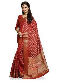 Red Art Silk Woven Saree