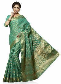 Turquoise Green Colour Art Tussar Silk Woven Saree