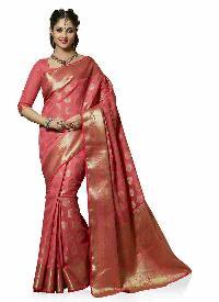 Pink Traditional Woven Art Tussar Silk  Saree