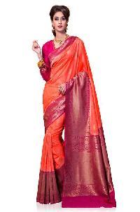Orange and Pink Colour Kanchipuram Spun Silk Woven Saree