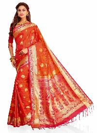 Pink Colour Woven Traditional Art Silk Saree
