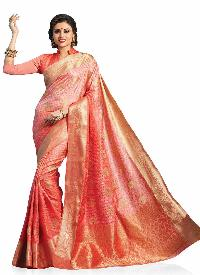 Peach Colour Woven Art Silk  Saree