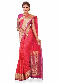 Pink And Purple Woven Art Silk  Saree
