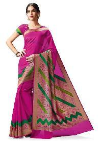 Meghdoot Pink Kanchipuram Spun Silk Traditional Woven Saree