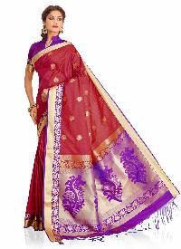 Purple and Pink Colour Art Silk Woven Saree