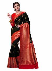 Black And Red Kanchipuram Spun Silk Woven Saree