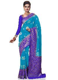 Royal Blue Kanchipuram Spun Silk Woven Saree