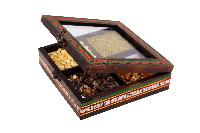 Ethnic Spice Box In Mango Wood with 4 Compartments