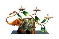 Glazed Elephant Tea Light Holder