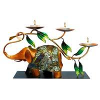 INDIKALA Glazed Elephant Tea Light Holder with Mosaic Work