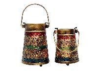 Set Of Two Iron Jali Basket T-light Holder