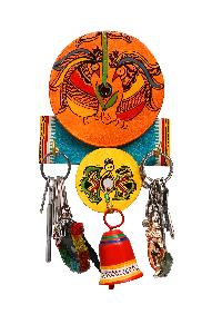 Warli Work Bell Single Plate Key Ring Holder