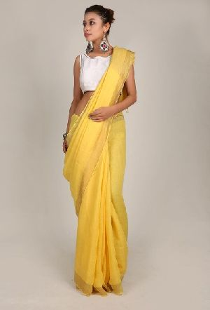 Handwoven Linen Jari Border Saree
