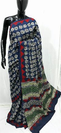 Malmal Soft Cotton Vegetable Print Saree With Blouse Piece