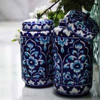 Blue Pottery Decorative Jar