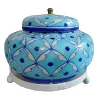 Blue Pottery Decorative Rose Bowl