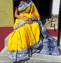 Double Dyed Cotton Kalamkari Sarees