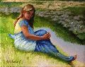 Woman near pond, oil painting for sale