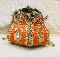 Lotus Kundan Handwork Hard Base Potli Bag