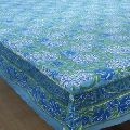 Hand Block Printed Tablecloth Blue Daffodils