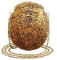 Designer Brass Embossed Metal Clutch Bag