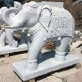Hand Carved Marble Elephant Statue