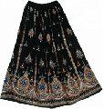 black sequin long skirts