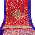 Multi color wool threads mirror work embroidered fabric