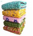 Twin Size Stripe Design Throw Cotton Kantha Bedspread