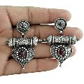 Antique Look 925 Oxidized Sterling Silver Ruby Gemstone Earring Traditional Jewelry
