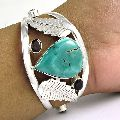 Special Moment Turquoise, Garnet Gemstone Sterling Silver Bangle Jewellery
