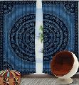 Blue Elephant Print Mandala Cotton Window Door Cover Curtain