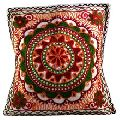 Ethnic Mirror Work Thread Embroidered Mandala Pillow Cushion Cover