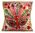 Mirror Work Thread Embroidered Cushion Cover