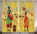 Villege Girl Print Mandala Cotton Window Door Cover Curtain