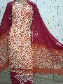 Red Cotton Print Dress Material