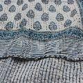Bagru Rug Hand Block Cotton Ikat Kantha Quilt Decorative Throw