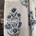 Cotton Dense blue colour beautiful flower Hand Block Print Sun Light Door Curtain