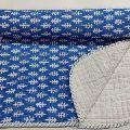 Hand Block blue white Print Baby Kantha Quilt Wrap Blanket
