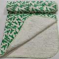 Hand Block parrot Print Baby Kantha Quilt Wrap Blanket