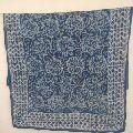 Hand Block Print Sarong, Cotton blue colour line flower Dupatta Stole